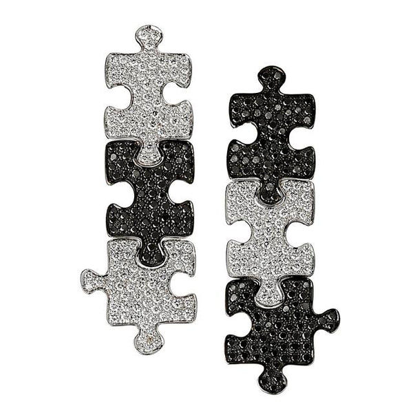 White & Black Diamond Puzzle Statement Earrings