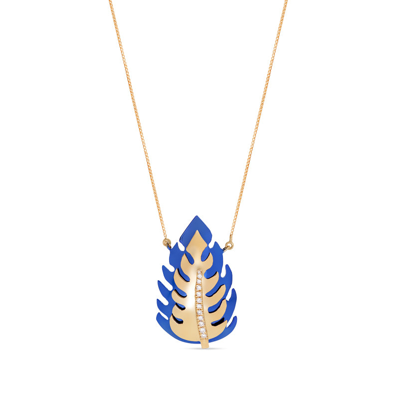 Blue Monstera Necklace