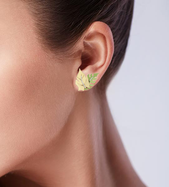 Mini Green Double Leaf Earring