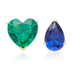 Lab-Grown Emerald Love & Tears Stud Earrings
