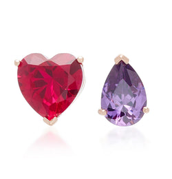 Lab-Grown Ruby Love & Tears Stud Earrings