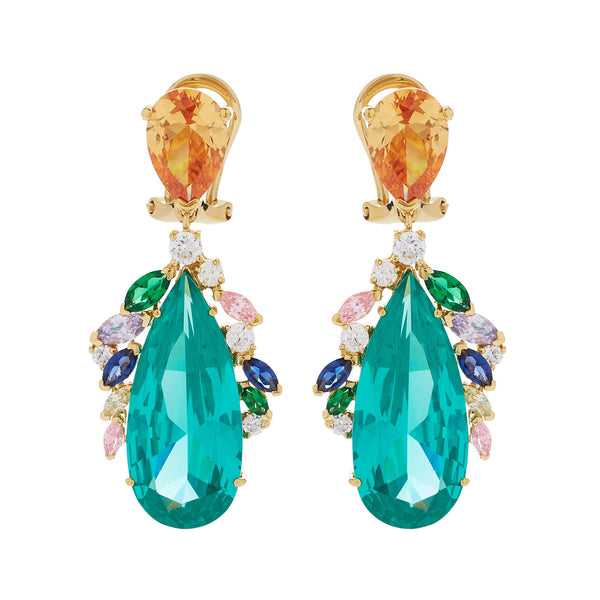 Lab-Grown Peacock Parabia Earrings