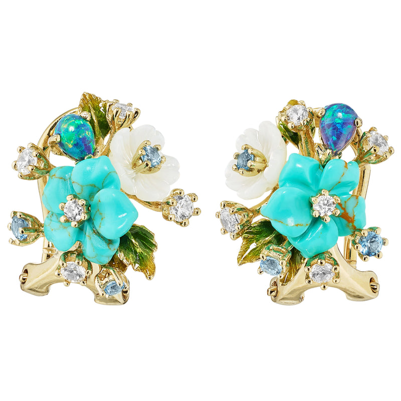 Lab-Grown Turquoise Bouquet Studs