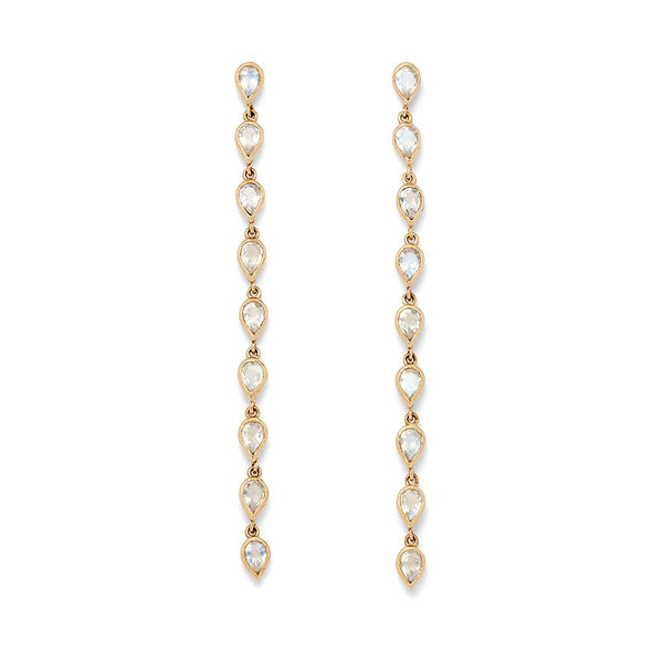 Moonstone Long Pear Drop Earrings
