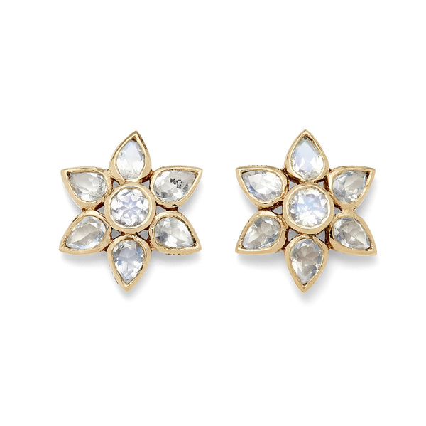 Moonstone Flower Stud Earrings