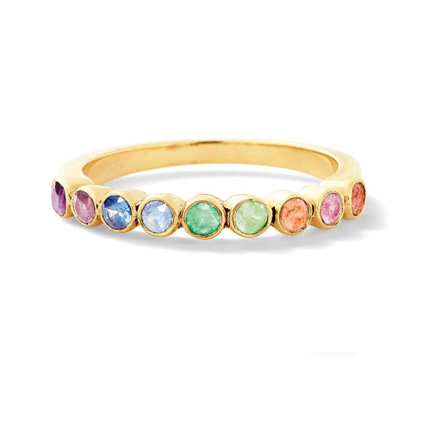 Rainbow Sapphire Stackable Ring