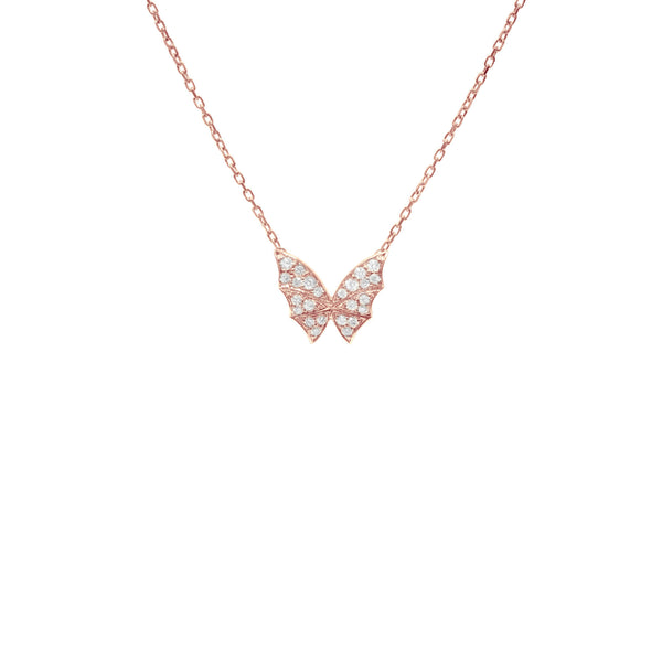 Fly By Night Pavé Small Necklace in Rose Gold