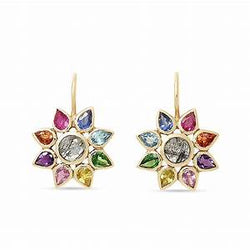 Rainbow Flower Hook Earrings