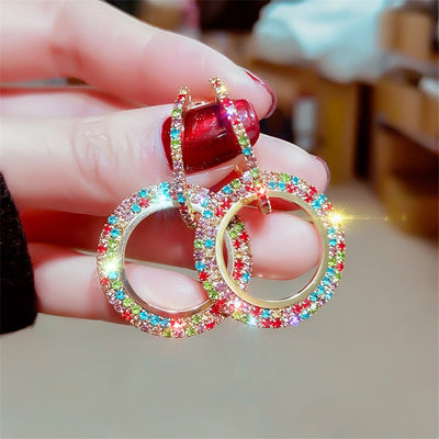 Colorful Rhinestone Geometric Hoop Earrings Water drop Rhombus Shape Earring - AccessoryStyle