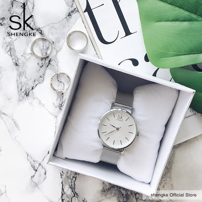 SK Super Slim Sliver Mesh Stainless Steel Watches Women Top Brand Luxury Casual Clock Ladies Wrist Watch Lady Relogio Feminino - AccessoryStyle
