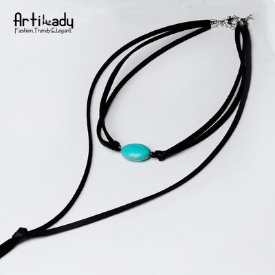 Artilady natural stone tassel necklace leather long chain - AccessoryStyle