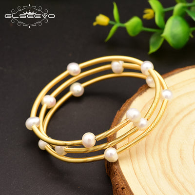 GLSEEVO Handmade Natural Fresh Water Pearl Multi-storey Adjustable Bangle For Women Wedding Party Jewelry Pulseras Mujer GB0119 - AccessoryStyle