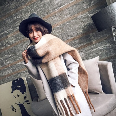 Mingjiebihuo Korean new fashion long scarf shawl female autumn and winter new color mixed wild warm thick fringed scarf - AccessoryStyle
