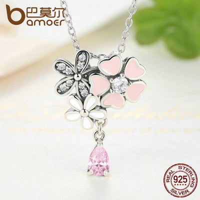 BAMOER 925 Sterling Silver Pink Heart Blossom Cherry Flower 45CM Pendants Necklaces SCN046 - AccessoryStyle