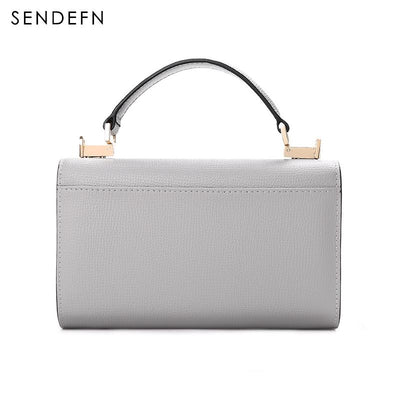 Sendefn Handbag Women Leather Handbags Mini Tote Bag With Zipper Messenger - AccessoryStyle