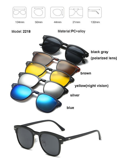 5 in 1 sunglasses men magnetic sunglasses clip on glasses magnetic lens sunglasses - AccessoryStyle