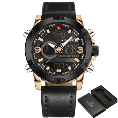 NAVIFORCE Luxury Brand Men Analog Digital Leather Sports Watches Men's Army Military Watch Man Quartz Clock Relogio Masculino - AccessoryStyle