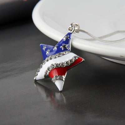 Fashion Jewelry High Quality American Flag Heart & Star Necklace The Old Glory Crystal Necklace Women Gift - AccessoryStyle