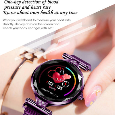 H1 Women Fashion Smart Watch Blood Pressure Heart Rate Monitor Fitness Tracker Bracelet Smartwatch Diamond Flower Color Screen - AccessoryStyle