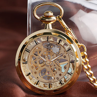 Vintage Watch Necklace Steampunk Skeleton Mechanical Fob Pocket Watch Clock Pendant Hand-winding Men Women Chain Gift - AccessoryStyle