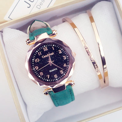 Quartz Wristwatches Fashion Starry Sky Women Watches  Leather Ladies Bracelet Watch - AccessoryStyle