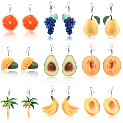 Summer Earrings Dangle Fruit Earrings Peach Grape Coconut tree Orange Earrings Mango earrings for women Cantaloupe Avocado fruit - AccessoryStyle