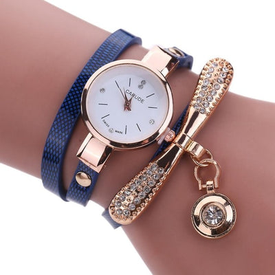 Women Watches  Casual Bracelet Watch Woman Relogio Leather Band Rhinestone Analog Quartz Watch Female Clock Montre Femme - AccessoryStyle