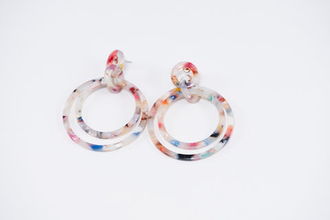 Speckled Double Circle Dangles Earrings