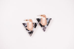 Dark and Stormy Earrings (Resin Triangles)