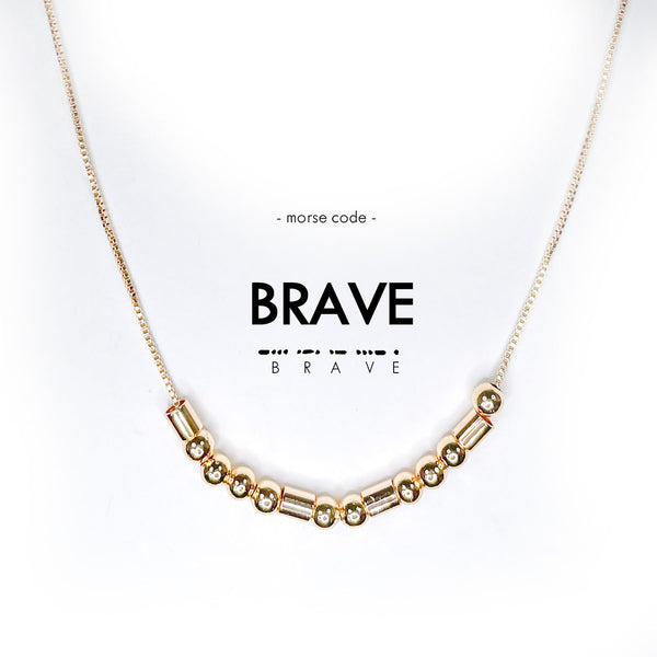 Morse Code Gold Necklace | Brave