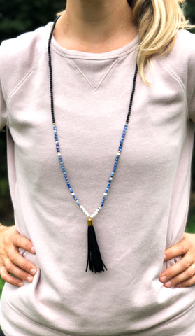 Morse Code Tassel Necklace