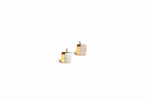 Mother Of Pearl Gold Dipped Stud Earrings