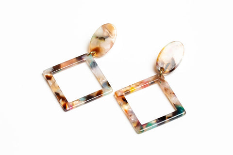 Speckled Diamond Dangles Earrings