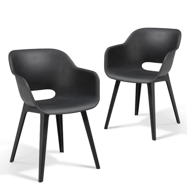 Set of 2: Akola Dining Chair - Graphite