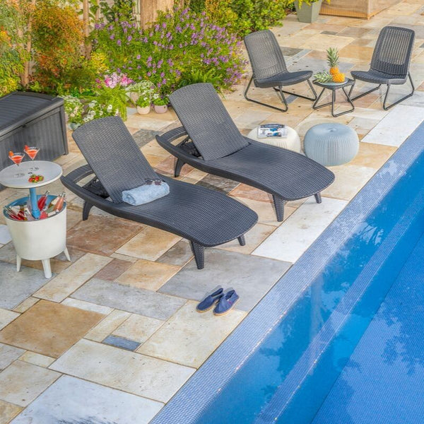 Pacific Sun Lounger: Set of 2 - Graphite