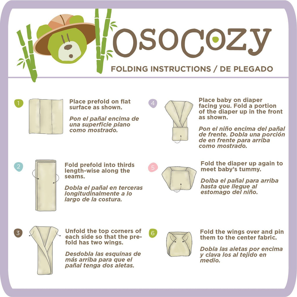 OsoCozy Better Fit Prefolds 100% Cotton 6 Packs