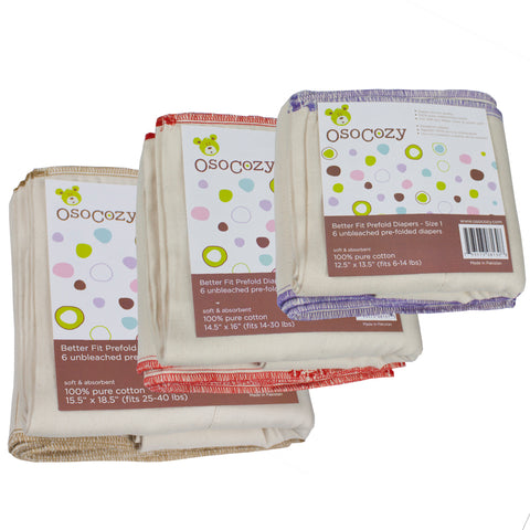 OsoCozy Better Fit Prefolds 100% Cotton 6 Packs (4489154232367)