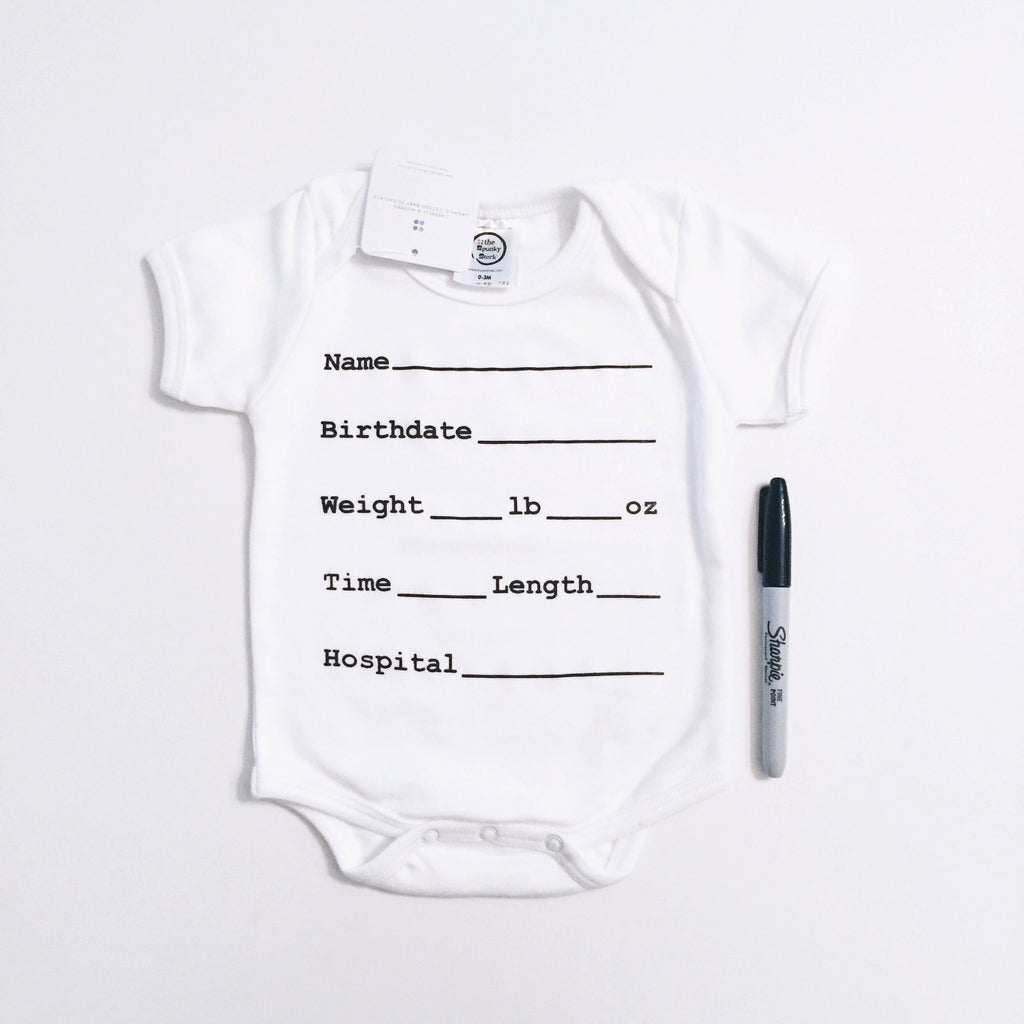 the Spunky Stork Hospital Stats Organic Baby Bodysuit