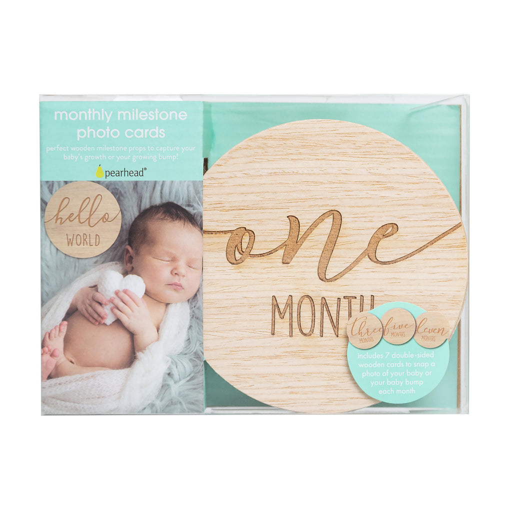 Pearhead Wooden Reversible Milestone Photo Cards