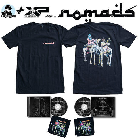 Pictured is front and back of Nomads t-shirt, front and back of Nomads CD, and Nomads stickers.