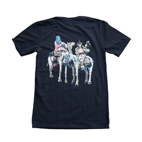 Nomads official t-shirt in black. Pictured on t-shirt is a painting of Ice Rocks and XP the Marxman sitting on a camel and horse wearing middle eastern and native clothing.
