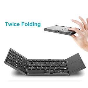 A18 Portable Twice Folding Bluetooth Keyboard BT Wireless Foldable Touchpad Keypad for IOS/Android/Windows Ipad Tablet