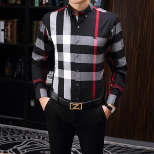 2020 us business brand thin checked shirt, fashion designer brand long sleeve cotton casual shirt stripe cooperative shirt size m-3xl #Y24
