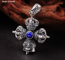 Cargar imagen en el visor de la galería, Uglyless Religious Cross Bell Pendants for Men Clinking Thai Silver Vajra Necklaces NO Chain Real 925 Silver Lapis Jewelry P1162