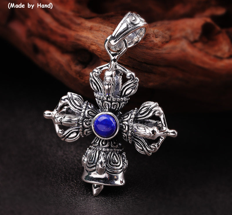 Uglyless Religious Cross Bell Pendants for Men Clinking Thai Silver Vajra Necklaces NO Chain Real 925 Silver Lapis Jewelry P1162