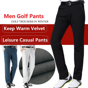 Autumn Winter Waterproof Men Golf Trousers Thick Keep Warm Windproof Long Pant Male Plus Velvet Golf Ball Pants Tennis Clothing