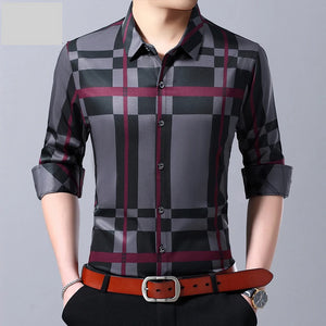 MIACAWOR 2019 New Men Shirt High Quality Fashion Plaid Casual Shirts Slim Fit Long Sleeve Camiseta Hombre Dress Shirt C433