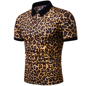 2019 Summer Mens Polo Shirt Brands Night Club Leopard Printed Turn Down Collar Short Sleeve Male Polo Homme Tees Tops M-XXXL