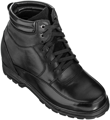 Calden Men's Invisible Height Increasing Elevator Shoes - Black Leather Lace-up Military Boots with Extra Tall - 5.2 Inches Taller - K881801