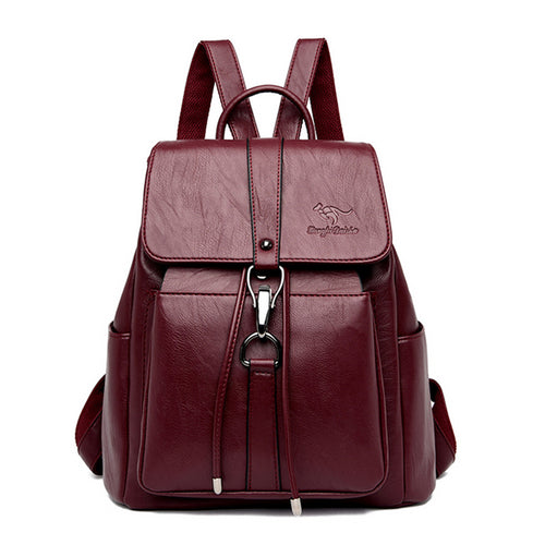 Kangaroo Brand Women Leather Backpacks For Teenage Girls Mochilas Ladies Bagpack Travel Back Pack School Bags For Teenage Girls